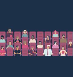 people watching movie in cinema hall vector image