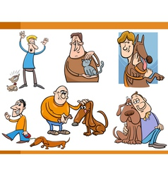 People with pets cartoon set vector