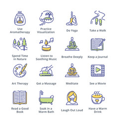 Relaxation techniques icons - outline series vector