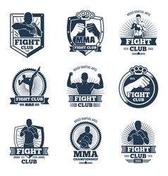Retro mma emblems and labels fight club vector