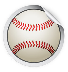 round sticker with baseball ball vector image