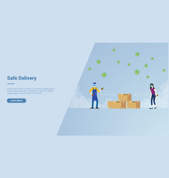 Safe delivery campaign concept for website vector