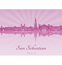 San Sebastian skyline in purple radiant orchid vector image