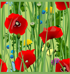 seamless pattern background with meadow flowers vector image