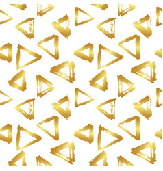 Seamless pattern with brush triangles gold vector