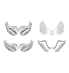 Set black angel wings and outline icons vector