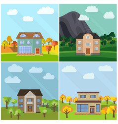 set of four lonely houses in the nature vector image