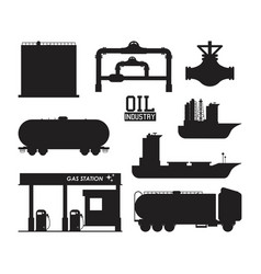set of petroleum machinery vector image