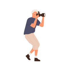 Side view professional male photographer vector