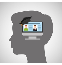 Silhouette head boy computer education online vector