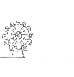 single one line drawing a ferirs wheel vector image
