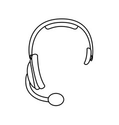 sketch silhouette headphones communication icon vector image