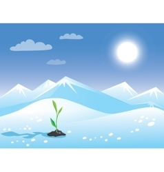 Spring arctic sunny landscape with green sprout vector