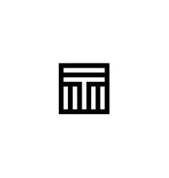 square stripes logo letter t vector image