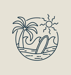Surfer paradise beach stamp in line art style vector