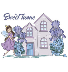 sweet home cartoon wedding clipart color vector image