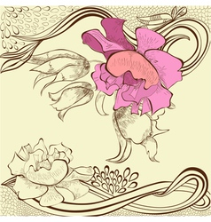 template for decorative floral card vector image