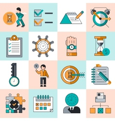 Time management icons flat line vector