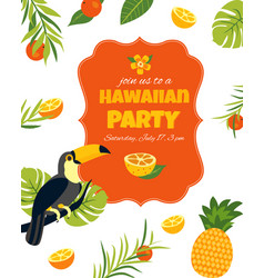 Tropical hawaiian posterwith toucan party template vector