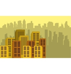 Urban city with yellow backgrounds flat vector image