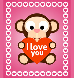 valentines day background with monkey vector image