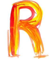 Watercolor Font LETTER R vector image
