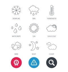 Weather sun and rain icons Moon night vector