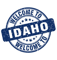 Welcome to idaho blue round vintage stamp vector