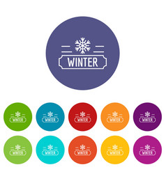 winter icons set color vector image