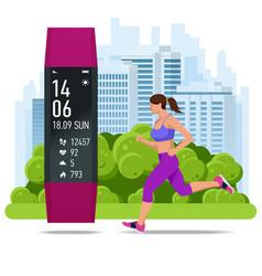 Women s fitness bracelet or tracker an athlete vector