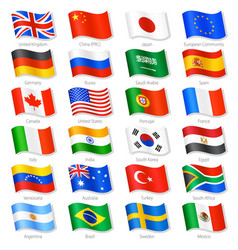 World top countries national flags vector