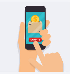 hand holding mobile smart phone with donation vector image