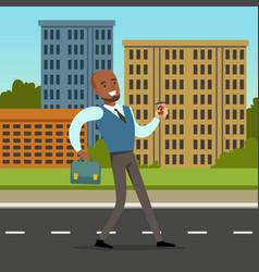 happy black man in formal clothing walking down vector image vector image