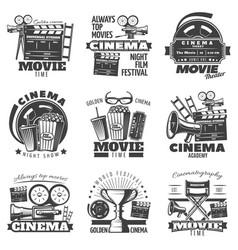 monochrome cinema emblems vector image vector image