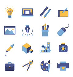 printing and graphic design icons vector image vector image