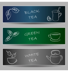 Tea chalky doodles on banners vector image vector image