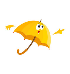 funny umbrella character with human face surprised vector image vector image