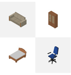 isometric furniture set of couch bedstead office vector image