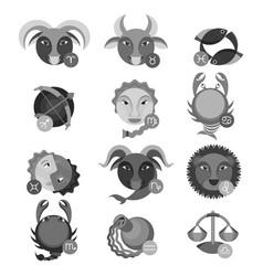 set of colorless astrology water air earth and vector image