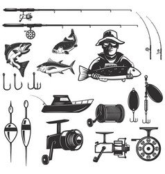 set of fishing design elements isolated on white vector image