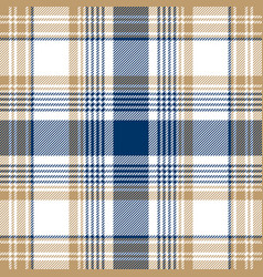 blue beige white checkered plaid seamless pattern vector image vector image