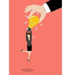 Hand stealing idea light bulbs from business woman vector