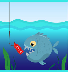 fish under water on the hook with a label sales vector image