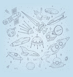 hand drawn cartoon space planetsshuttles rockets vector image