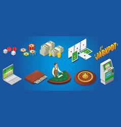 isometric casino icons set vector image vector image