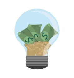 Lightbulb light bulb money bills vector