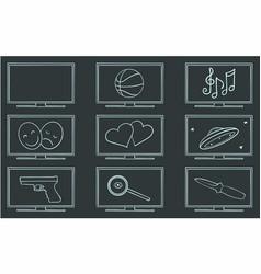 movie tv genres symbol set vector image