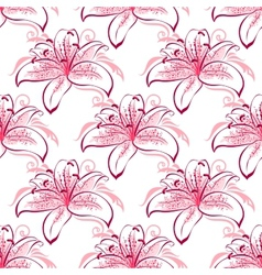 Pink and purple lilies seamless pattern vector image vector image