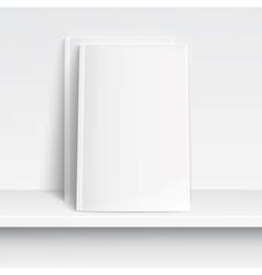 Two blank white magazines on white shelf vector image vector image