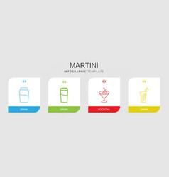 4 martini icons vector image